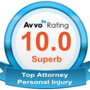 Blue and white AVVO 10 out of 10 rating badge for top personal injury lawyers in NH.