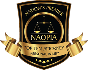 NAOPIA gold and black badge for top ten personal injury attorney in NH.
